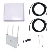 Усилитель 3G/4G Дача-Премиум 2х2 на базе антенны 3G/4G 2х17 дБ, модема и роутера Archer C9