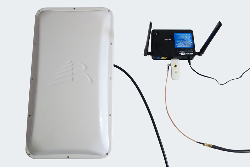 Роутер Zyxel Keenetic 4G III + модем Huawei E3372 + 3G/4G-антенна с усилением 17 дБи